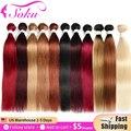 Черные, светлые, коричневые, красные пучки волос, бразильские прямые человеческие волосы, пучки Омбре, пучки 613 пряди Ков, не Реми, SOKU