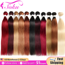 Hair-Bundles Blonde Brown Black SOKU Brazilian Straight Non-Remy Red Ombre
