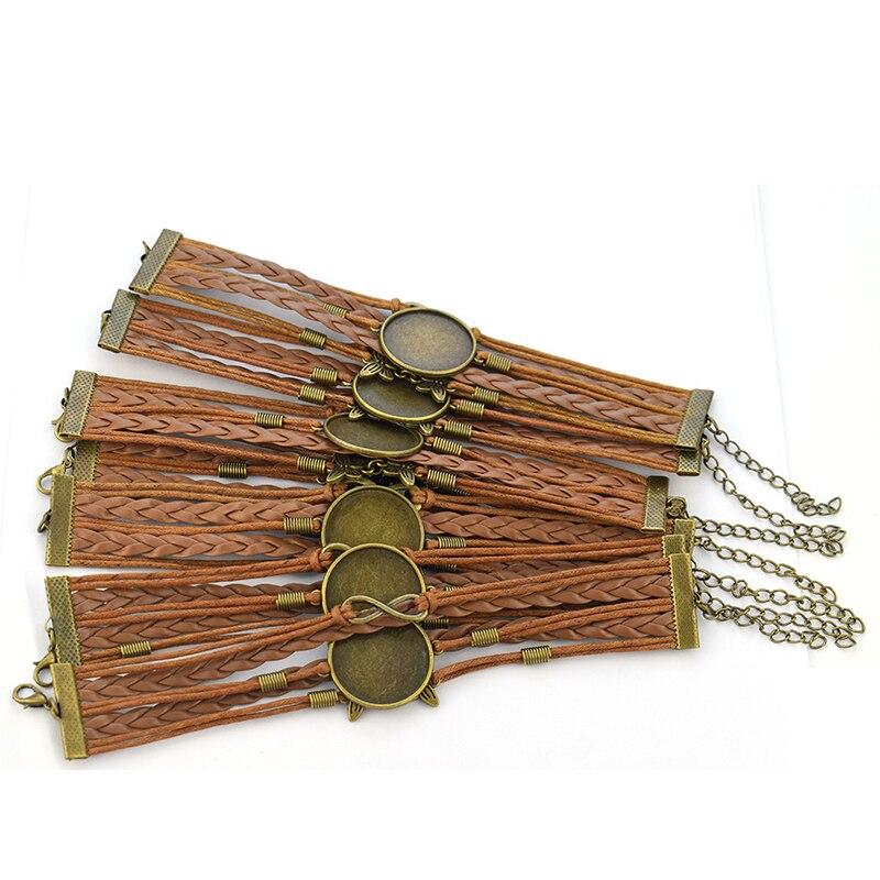 Многослойный кожаный браслет «сделай сам», 5 шт., пустая основа, 25 мм, Круглый фотостеклянный кабошон, рамка, лоток для ювелирных изделий