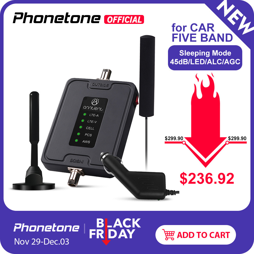 RV/Car/Truck Use Cell Phone Signal Booster For US/CA 700/850/1700/1900MHz 2G 3G 4G Repeater Set Boost GSM Voice/LTE Data Signal