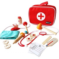 Children Wooden Doctor and Nurse Set with Stethoscope/ Kids Plastic Medical Kits with Handy Carrying Case Pretend Play