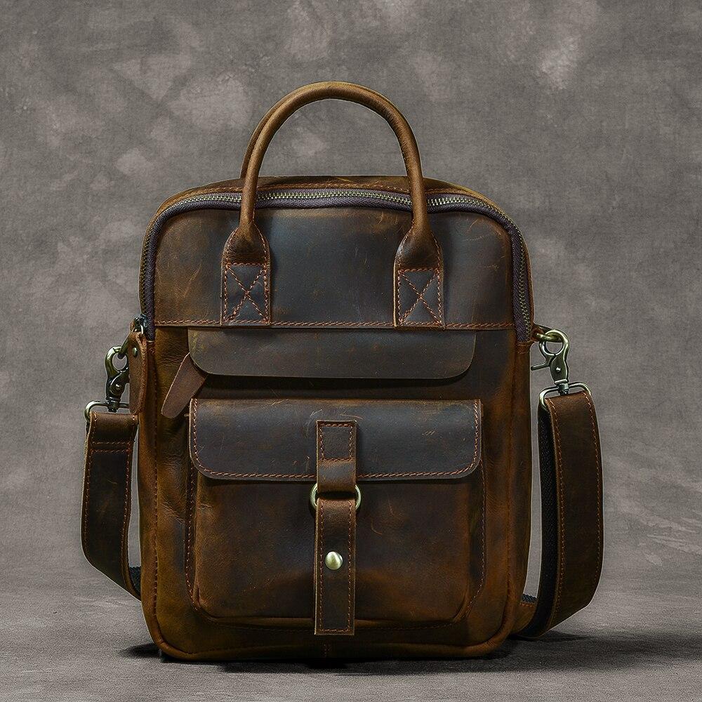 Men's Bags Genuine Leather Men's Shoulder Bag Male Crazy Horse Vintage Crossbody Bags for Men Messenger Bag Leather