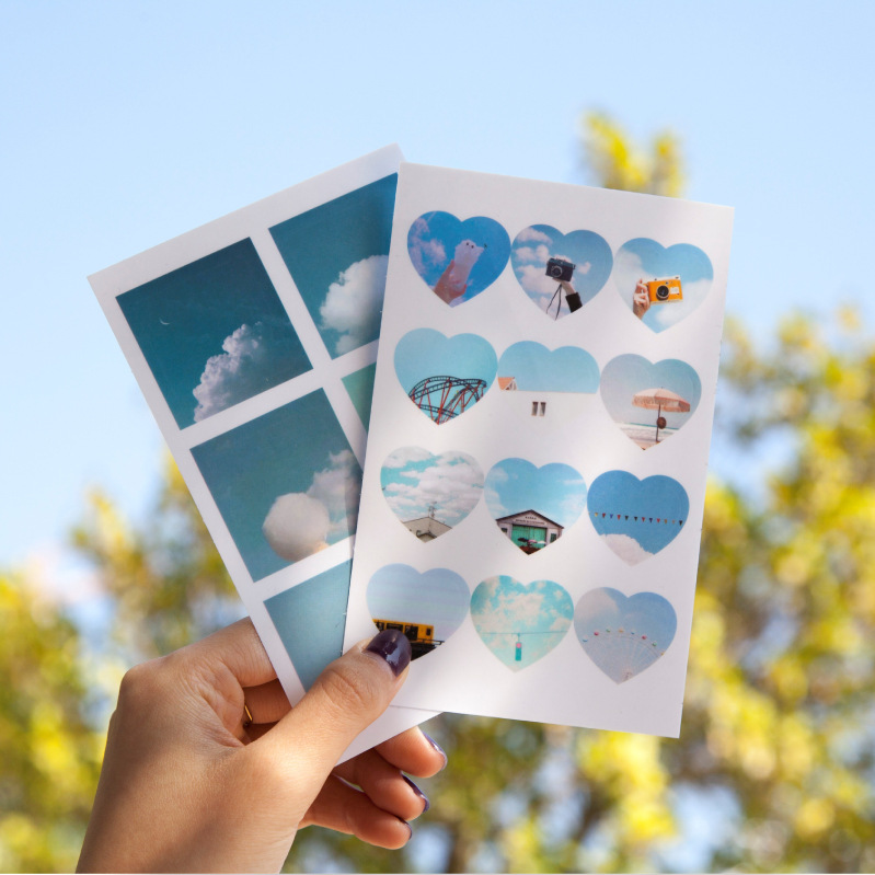 4PCS/LOT The Coloful Sky Theme Paper Stickers Pack 88mm*138mm Cloud Diary Stickers