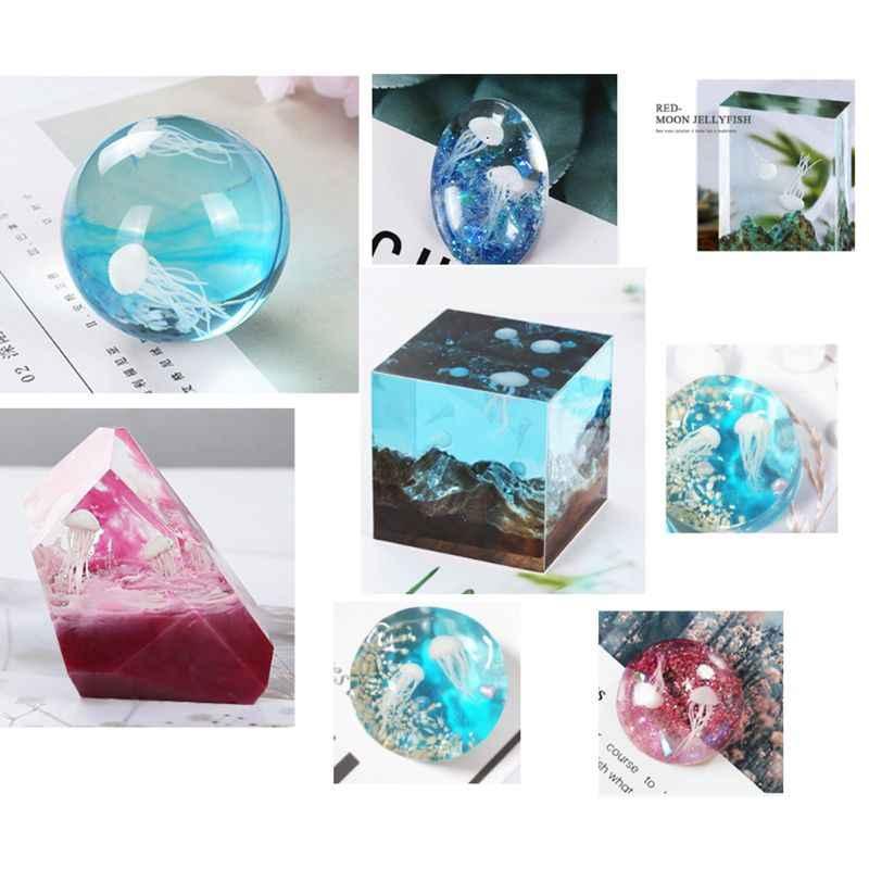 16 Teile/satz Epoxy Füllung Material Kristall Ozean Harz 3D Mini Quallen Modellierung