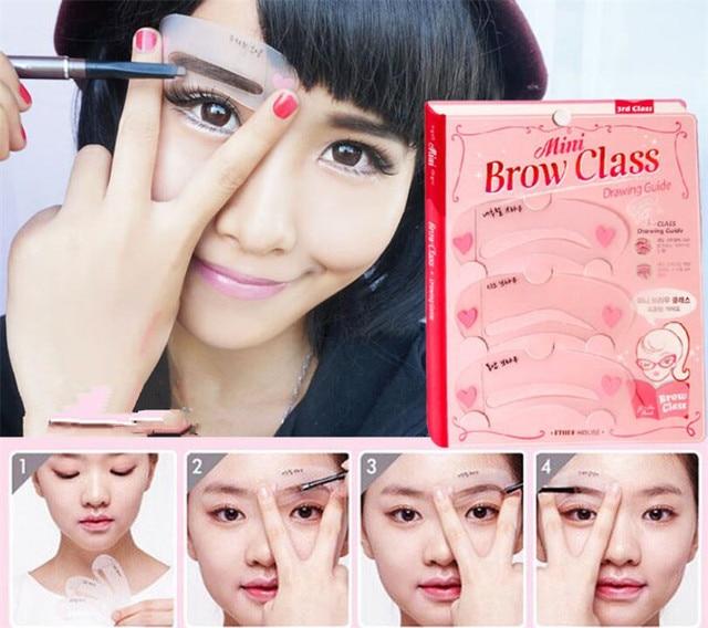 100sets/lot 3 Pcs Reusable New Eyebrow Stencil Tool Makeup Eye Brow Template Shaper Make Up Tool Eye Brow Guide Template 4