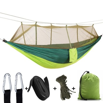 260*140cm Portable Outdoor Camping Netted Hammock with Mosquito Net Strength Parachute Fabric Hanging Bed Hunting Sleeping Swing 260 140cm double hammock with mosquito net outdoor camping survival garden hunting leisure parachute cloth swing hammock