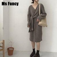 Woman Autumn Chic Lace up Knitted Sweater Dress V neck Long Sleeve Sweater Dress