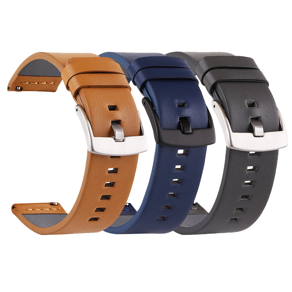 18mm 20mm 22mm 24mm Genuine <font><b>Leather</b></font> Watchband for <font><b>Samsung</b></font> Galaxy Watch 42mm <font><b>46mm</b></font> Active2 Strap Bracelet Band for Amazfit GTR/Bip image