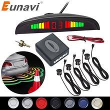 Eunavi 1set de Parktronic Kit de sensores de estacionamiento LED pantalla 4 sensores para todos los coches inversa asistencia Sistema de Monitor Radar de respaldo