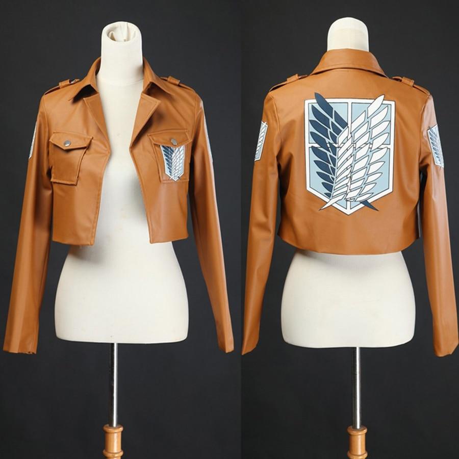 Anime Attack on Titan Cosplay Leather Jacket Shingeki no Kyojin Cosplay Costume Eren Levi Legion Coat Jackets High Quality