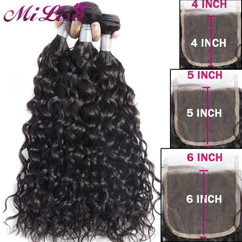 Mi Lisa Water Wave Bundles With Closure Human Hair Weave With Lace Closure Remy Peruvian Hair 3 Bundles With 4x4 5x5 6x6 Closure