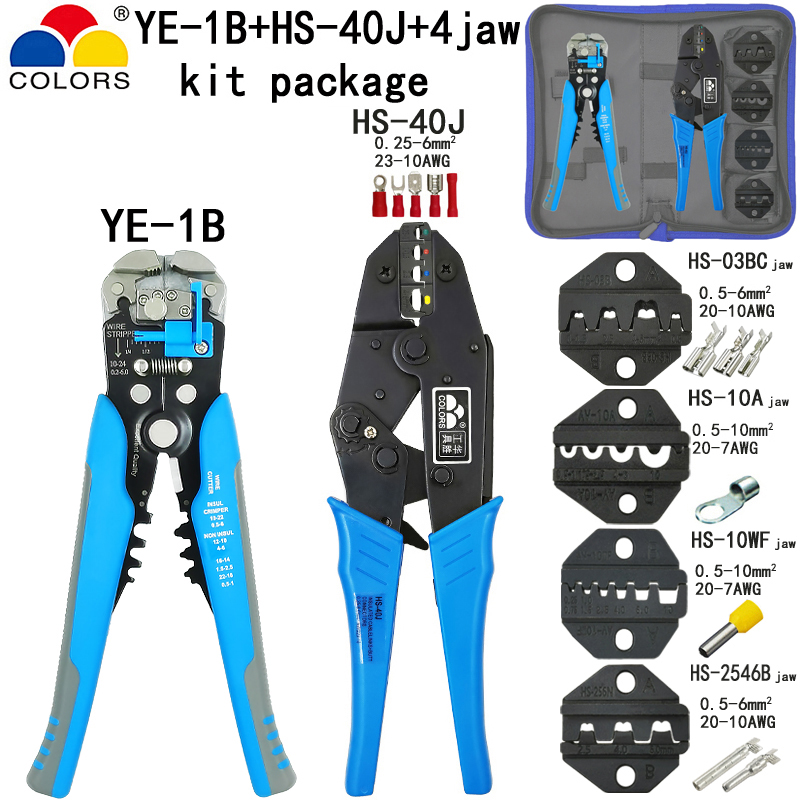<font><b>HS</b></font>-<font><b>40J</b></font> crimping pliers stripper tools kit <font><b>HS</b></font>-03BC/10A/10WF/2546B jaw for insulation non-insulation tube pulg terminals image