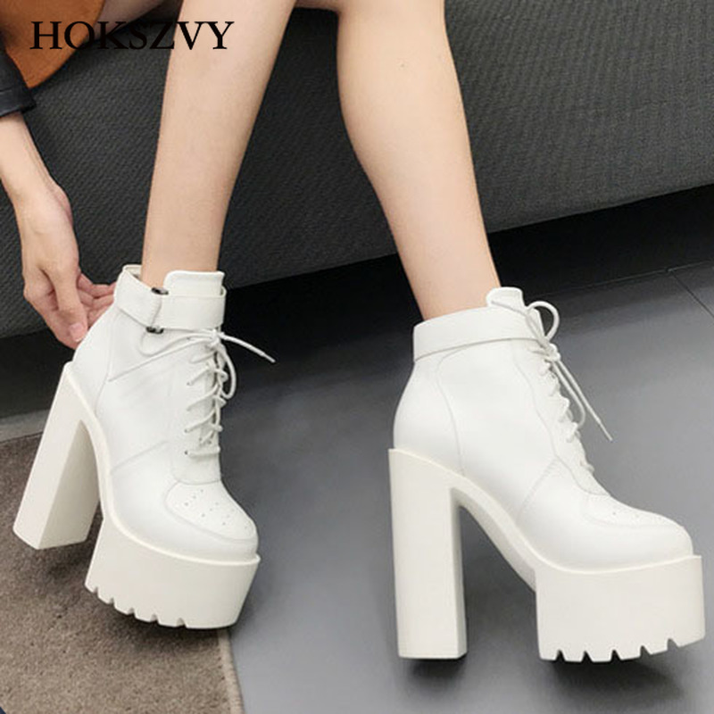HOKSVZY 2020 New Women's Sexy Winter Black Boots Platfrom Boot Women Fashion Shoes Thick High Heel Boots Martin Boots