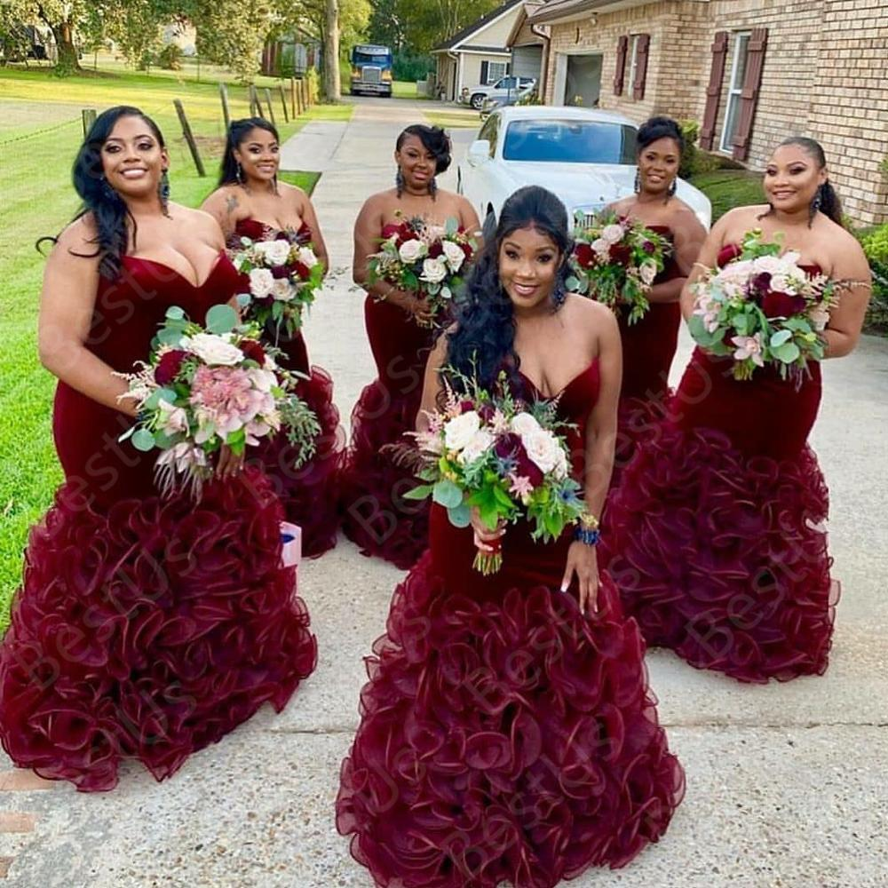 Burgundy Plus Size Bridesmaid Dresses 2020 Chic Velvet Custom Made Prom Evening Gowns With Cascading Ruffles Wedding Guest Dress