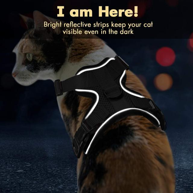Escape Proof Cat Vest Harness and Car Seat Belt Adapter Adjustable Reflective Harness Soft Mesh Vest Harness for Kitten Puppy 5