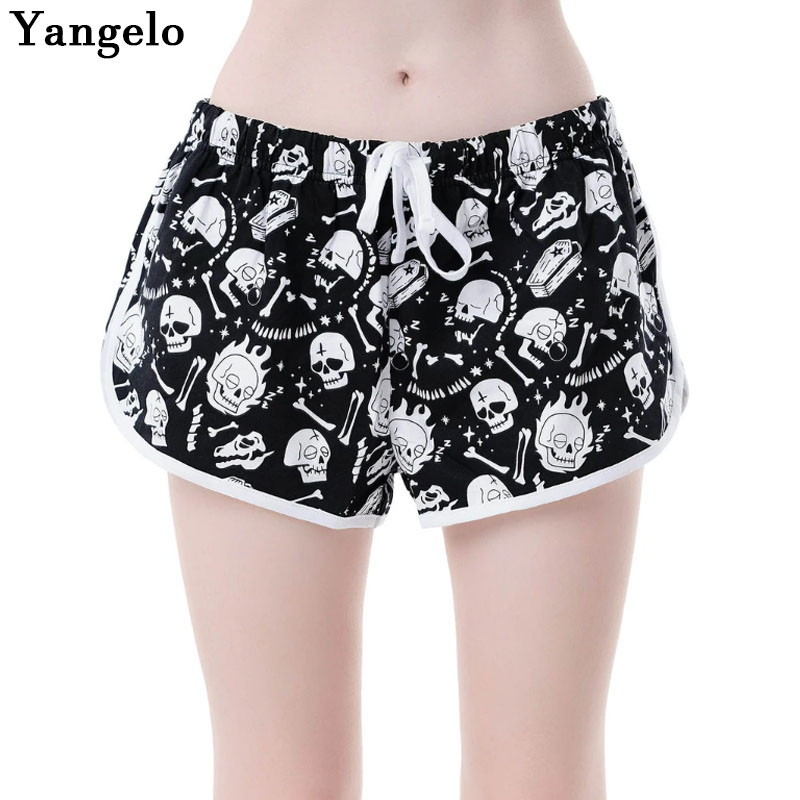 Yangelo Dark Gothic Women Shorts 2020 New Drowsy Lounge Punk Drawstring Loose Black White Skull Summer Female Fashion Shorts