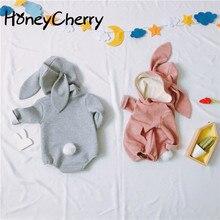 Bebê coelho forma estereoscópica de roupas conjoined das crianças roupas do bebê menina bodysuit corpo do bebê para bebês recém nascidos
