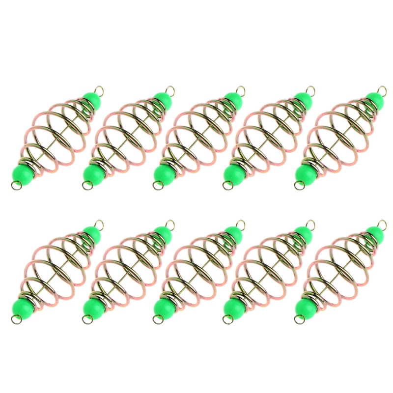 LEO 10 Pcs/Set Fishing Bait Spring Lure Inline Hanging Tackle Stainless Steel Feeder Size M 5.8Cm