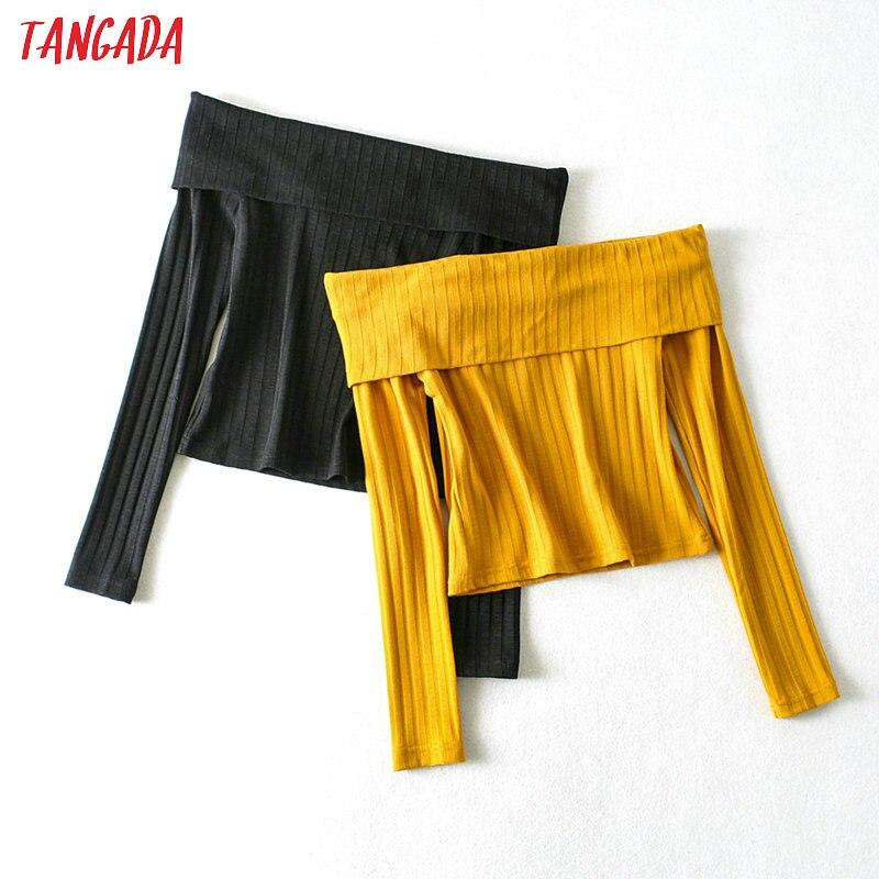 Tangada Korea Chic Women Yellow Slash Neck Jumper Sweater Vintage Ladies Black Slim Knitted Tops 1A04