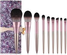 9pcs Face Eye Shadow Makeup Brush Set Purple Eyeshadow Eyeliner Lip Foundation Cosmetic Blush Makeup Brushes professional 24pcs pink cosmetic makeup brushes set foundation eye shadow eyeliner cream powder brush kits pouch bag case