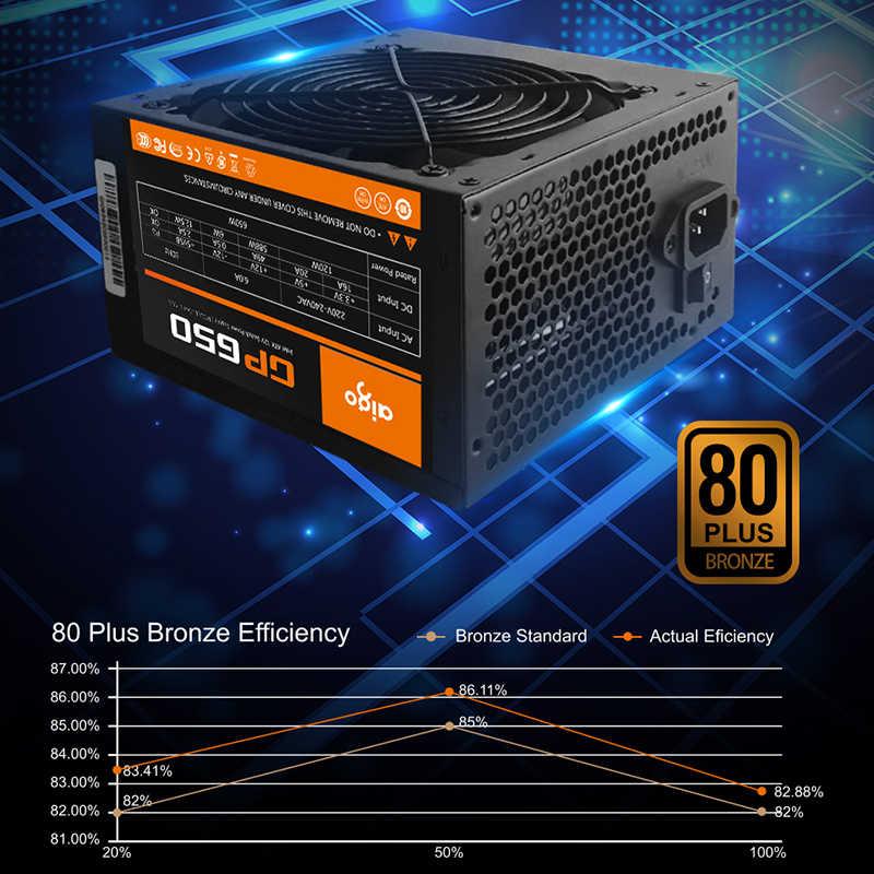 Aigo moc PC zasilanie 650W 80PLUS zasilacz z certyfikatem zasilacz gry komputerowe Max 850W dla komputera 12V 120mm wentylator chłodzący