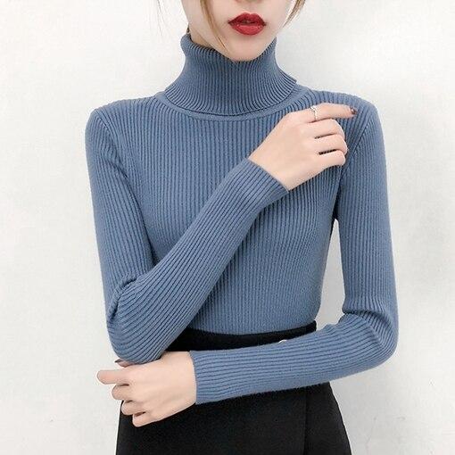 Теплый свитер с высоким воротом женский черный, белый, синий, бежевый, зеленый, розовый, желтый, красный пуловер, свитер, Осень зима вязаный свитер|Водолазки|   | АлиЭкспресс