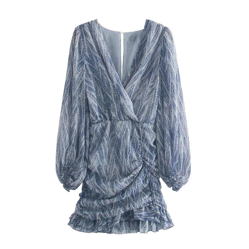 TRAF Women Chic Fashion Animal Print Asymmetric Draped Mini Dress Vintage Long Sleeve Ruffled Female Dresses Mujer 7