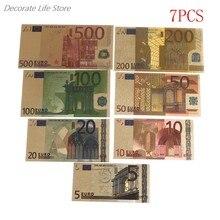 7 unidades de dinero falso de alta calidad chapado en oro de 24 quilates, colección de notas conmemorativas, recuerdo, decoración antigua, 5-500 dólares