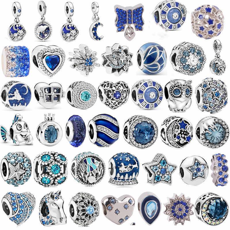 Meer blau Fit Original Pandora Armband Halskette Perle Silber 925 Stern Fisch Mond Pferd Perlen Charme für Frauen Mode Schmuck