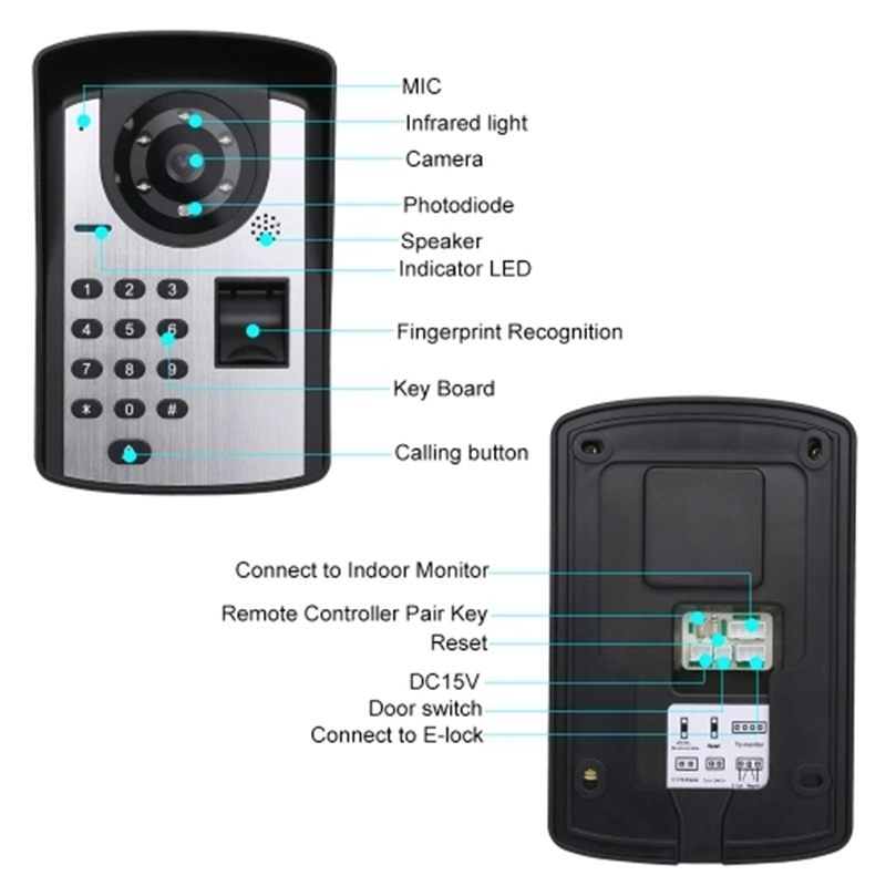Doorbell Intercom System Wireless Unlocks 7 Inch Monitor Fingerprint Password Remote Control HD Camera Video Door