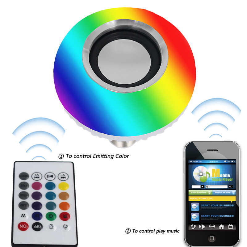Litwod Z90 + スマート Led ライト音楽プレーヤーオーディオリモコン E27 でワイヤレス Bluetooth スピーカー + 12 ワット RGB 電球ランプ 220V 110V