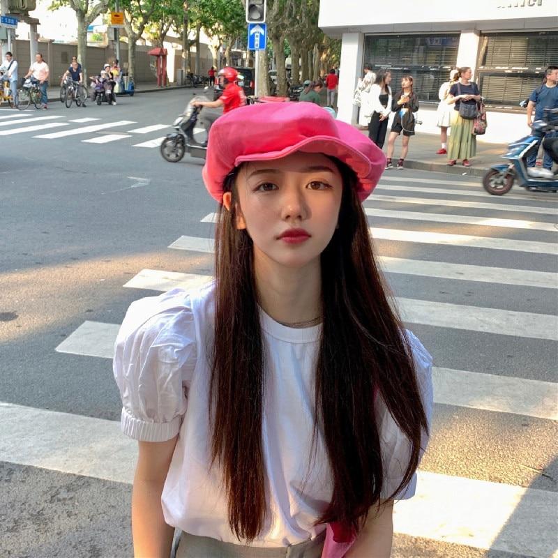 Fashion Autumn And Winter Cloud Hat Beret Hat Blast the Street Pink Octagonal Hat Solid Color Leisure Painter Cap Retro Beret
