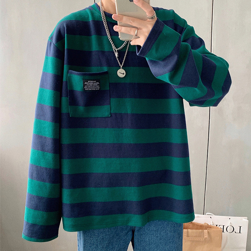 Pockets Striped Letter Print Oversized Autumn Men T Shirt Long Sleeve Plus Size Tee Korean Style Minimalist Student Clothes 2019