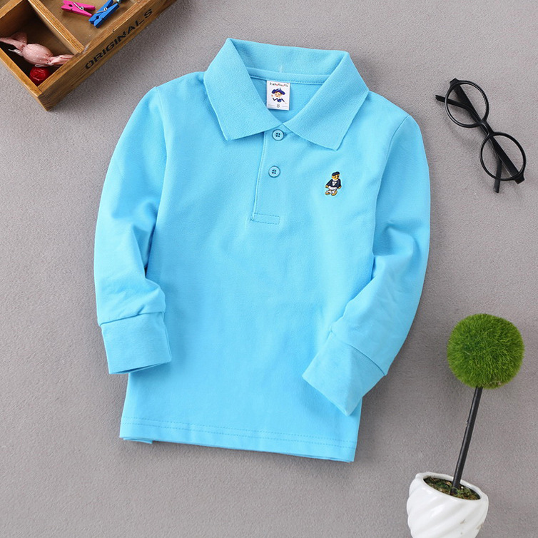 Polo Tee For Boy Spring Autumn Long Sleeve Clothes Children's Lapel Shirt Embroidery Costum Boys Polo Brand Blue Shirts Outfit