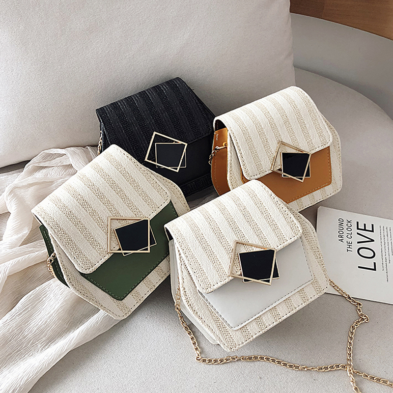 Mini Bag Girl 2019 New Korean Edition Fresh and Popular Fashion Chain PU Slant Bag Personal Bag Mobile Geometric Bag Clothes 65