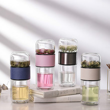 New Double Layer Glass Cup Tea Cup Creative Tea Separation Cup hydro flask water bottle glass water bottle tea bottle fashion glass frosted cup couple water cup waterbottle water bottle cute water bottle glass glass drinking set water jug