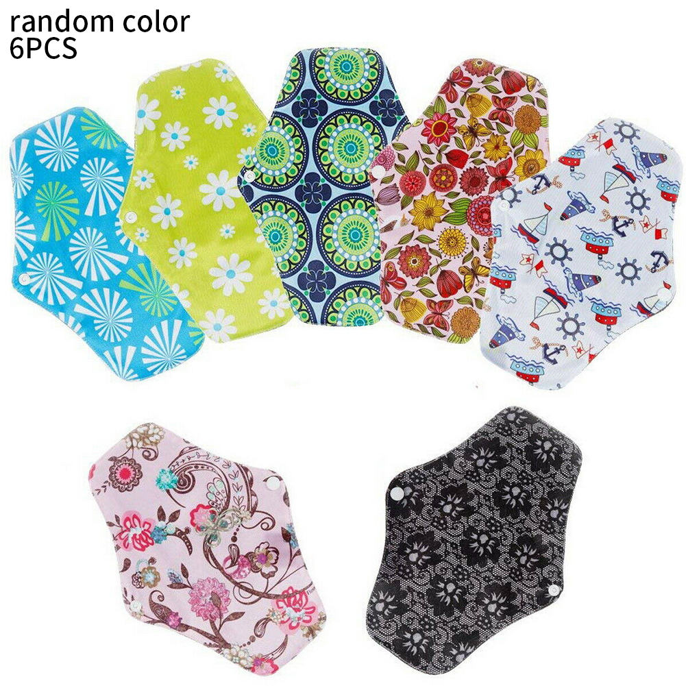 6pcs Anti Bacterial Reusable Washable Sanitary Pad With Button Panty Liner Bamboo Charcoal Printed Absorbent Maternity Nappy