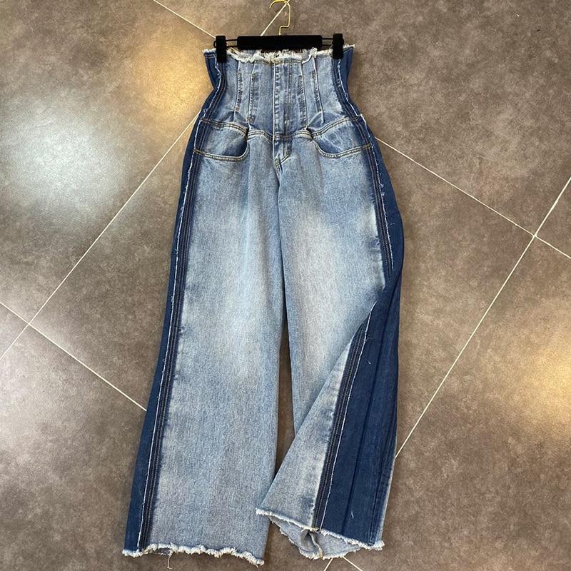 HIGH STREET Stylish 2020 Designer Pants Women's Wide Leg Denim Jeans