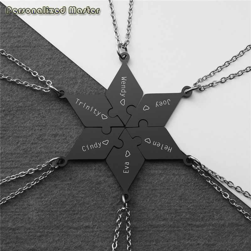 Personalisierte Master Nach Name Halskette Edelstahl Anhänger Halskette Puzzle Stück Anhänger Beste Freunde Schwestern Familie Geschenk