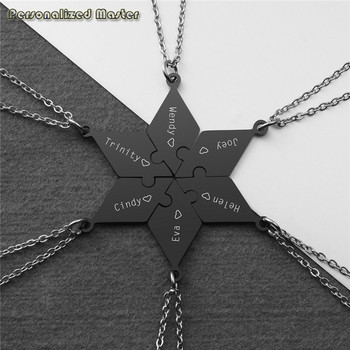 Personalized Master Engraved Name Necklace Stainless Steel Star of David Puzzle Pieces Pendant Friends Family Customized Jewelry недорого