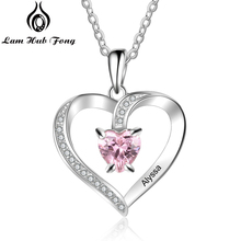 Personalized Name Necklace Custom Birthstone Heart CZ Stone Charm for Women DIY Womens Gift  (Lam Hub Fong)