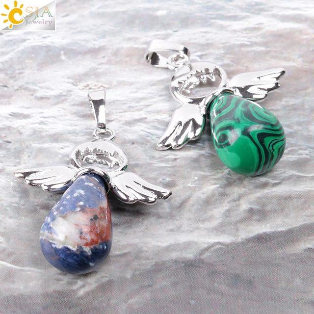 csja кулон ангелов из натуральных камней для ожерелья розовые фотография