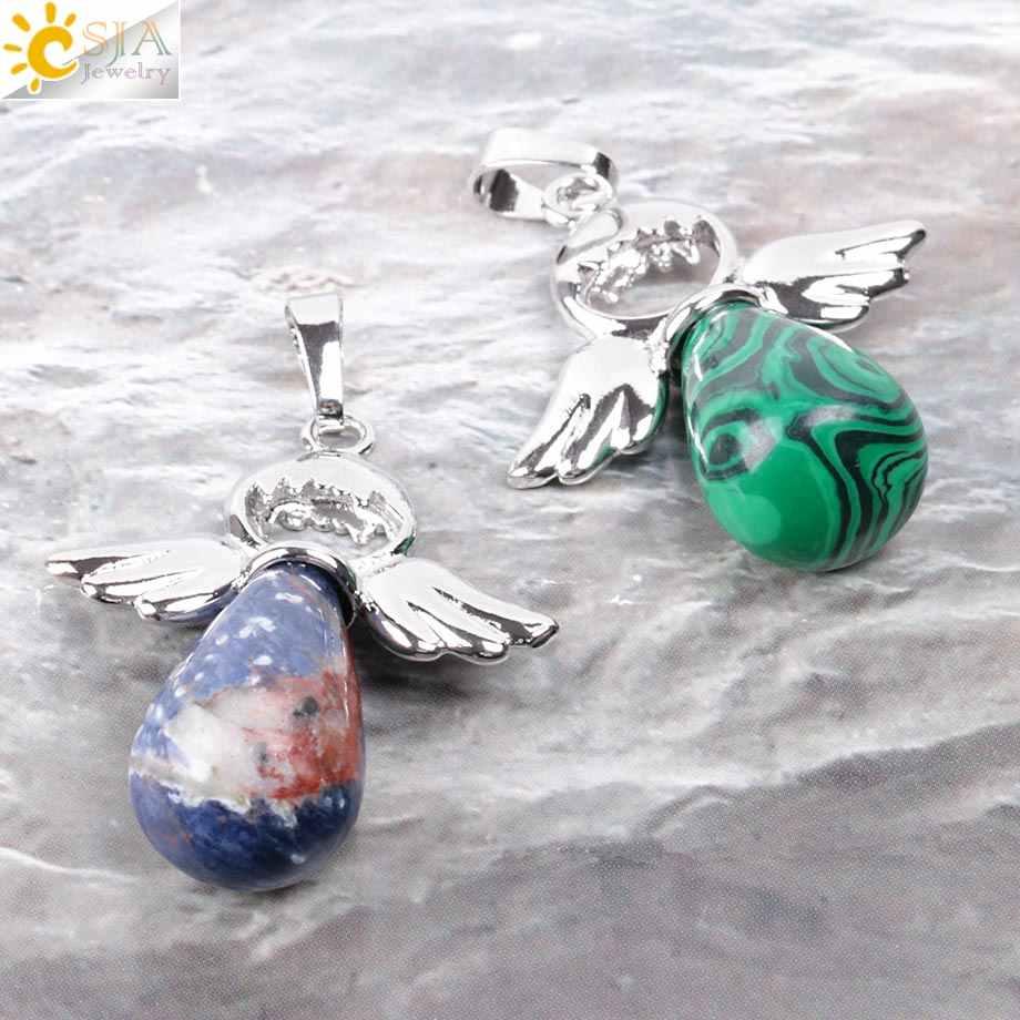 Csja Batu Alam Malaikat Liontin untuk Kalung Pink Kuarsa Onyx Liontin Perak Warna Air Drop Anak Perempuan Perhiasan Hadiah e949