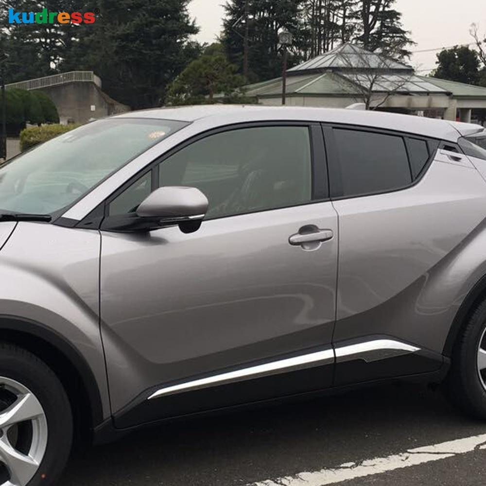 For Toyota CHR C HR 2016 2017 2018 Chrome Side Door Body Molding Protector Decor Strip Bezel Garnish Frame Styling