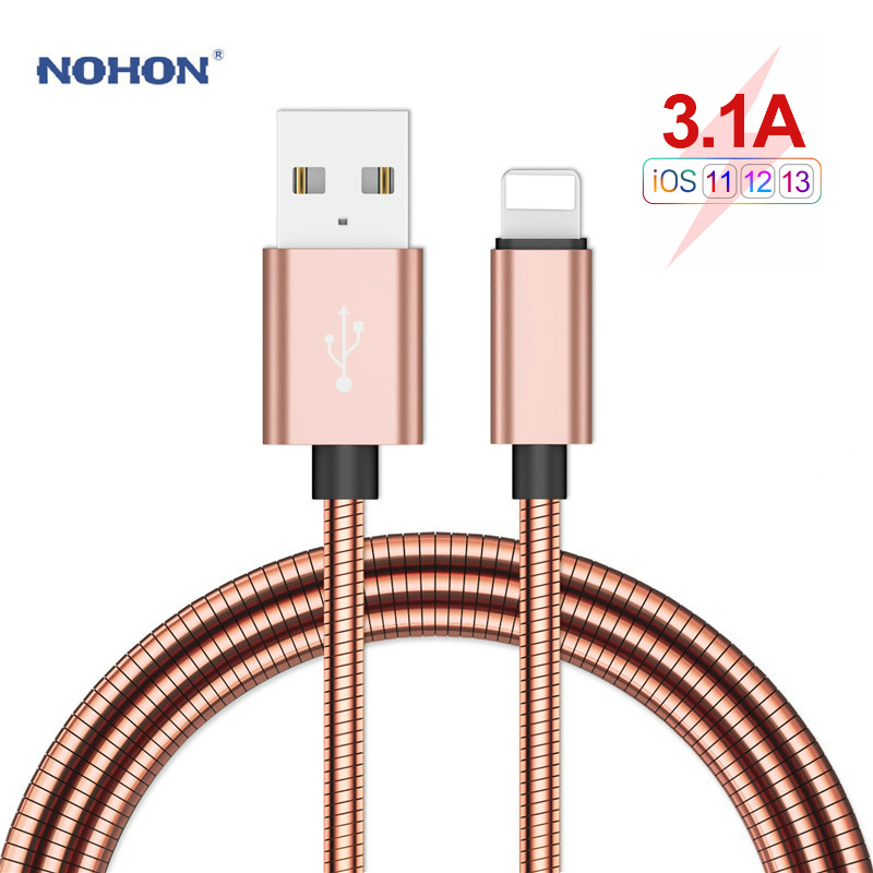 NOHON Type C USB Cable lightning Fast Charging Cable for iPhone XR X XS MAS Micro Phone Charger Stainless Steel Metal Data Cord 1