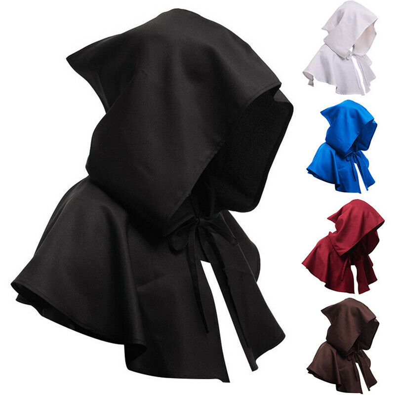 Halloween Middle Ages Cosplay Costume Shawl Robes Victorian Era Renaissance Monk Costumes Party Hat Cloak(China)