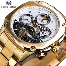 Forsining Tourbillon Moon Phase Mechanical Watch Mens Steampunk Luxury Gear Self Winding Golden Steel Automatic Clock Wristwatch parnis 42mm luxury pink dial hand winding mens wristwatch moon phase gmt clock brown leather strap timepiece pm4203sp
