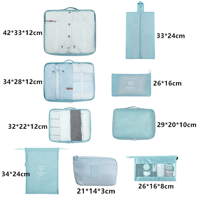 9-piece Suitcase Organize Storage Bag Portable Cosmetic Bag Clothes Underwear Shoes Packing Set High Quality Travel Makeup Bag 4