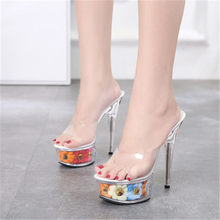 Hot style sexy super high heels 15CM stiletto sandals, transparent glass slipper wedding sandals(China)