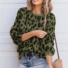 Женский свитер с леопардовым принтом, модный однотонный Повседневный пуловер с круглым вырезом, вязаный свитер, новинка, вязаный Топ, Женский свитер
